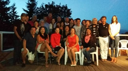 AoM Indigenous caucus group photo at salmon BBQ