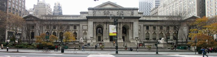 """Front facade and main entrance of the New York Public Library"" by I, Sam67fr (Own work) is licensed under CC BY-SA 3.0"
